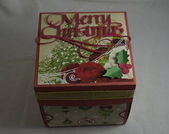 Merry Christmas Exploding Gift Box - Red Theme - Xmas Gift Box - Christmas Memories - Christmas Album - Family Memories at Xmas