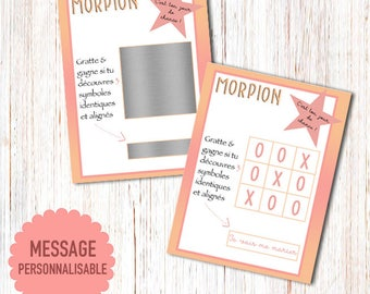 Scratch Tic Tac Toe wedding announcement card: I'm getting married! / or personalized Message with your text