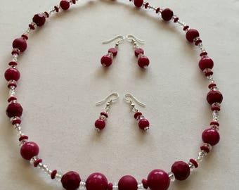 Deep pink large bead necklace and earrings