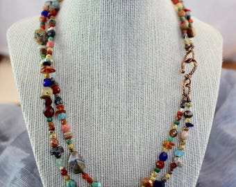 "NEW Viking inspired necklace 20"",double strand,multiple colors,tumbled stones,beads and chips,copper twist hook, fire polished beads,N079"