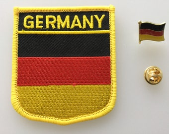 Germany Shield Country Flag Embroidered Patch and Pin Badge Set