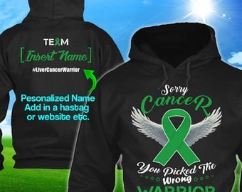 Personalized Liver Adrenal Cancer Awareness Hoodie Green Ribbon Warrior Men Women Kid Youth Custom Pullover Support Gift Winter Cloth
