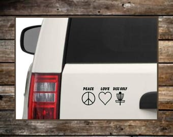 Disc Golf Decal / 12 Colors /Peace Love Disc Golf / Laptop Decals / Car Decals / Computer Decals / Window Decals