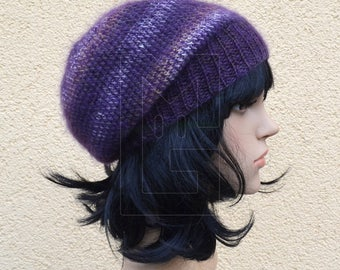 Slouch Beanie made of pure wool and silk