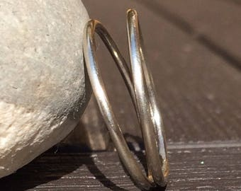 Beautiful double split band sterling silver ring choose size
