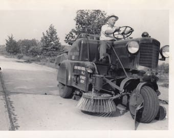 Vintage Photo Man Driving old Street Sweeper Cleaner Vehicle Transportation Snapshot Photography Antique Art Black & White