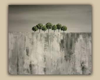 Abstract Landscape Trees Acrylic Painting