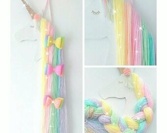 Rainbow unicorn hair bow holder, rainbow bedroom decoration, accessory holder, unicorn bedroom, girls bedroom, hair bow organiser, unicorn