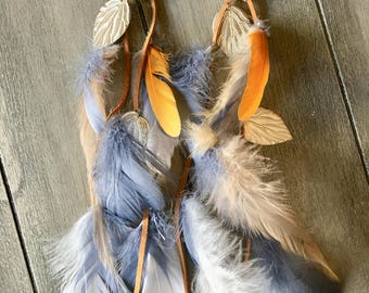 Grey and Gold Feather Earrings