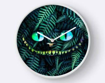 Cheshire Cat Clock, Cat Clock, Cheshire Cat Wall Clock, Plant Clock, Plant Wall Clock, Unique Wall Clock, Hanging Clock,