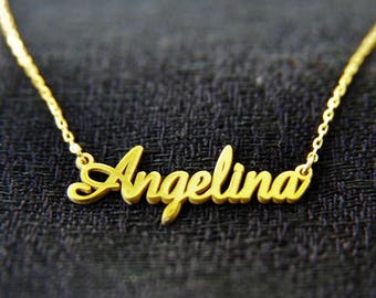 Handmade Necklace, Personalized Name Necklace, Name Necklace, Gold Name Necklace, Gold Personalized, Gold Jewelry, Custom Personalized, Name