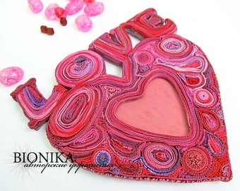 Heart for Valentine's day Heart polymer clay Frame for photos frame for interior Love word interior Love frame heart Valentine's day decor