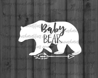Baby Bear with arrow decal- car decal - window decal - laptop decal - tablet decal - baby bear, boho baby bear, arrow decal, bear decal