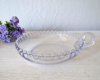 Vintage Candlewick glass nappy candy dish with one handle Vintage Imperial Glass glassware Vintage glass small dish Candlewick small bowl
