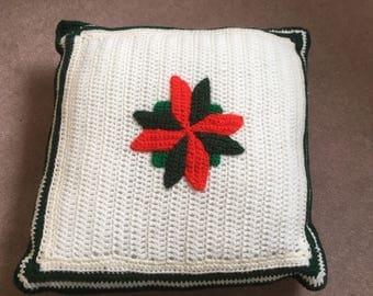 Christmas poinsettia cushion