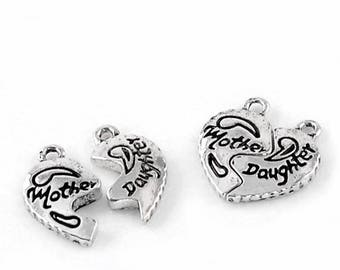 set of 2 mother daughter charms mother daughter color Silver (C34)