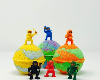 Sale! 5 5.0 oz or 7.0 oz Ninja Warrior Bath Bomb Party Favor Set with Surprise Ninja Toy Figures Inside
