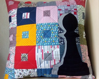 Alice in Wonderland, Chess , Pawn, Decorative Pillow, Art Quilted Pillow, Patchwork, Applique, Handmade, Home Decor