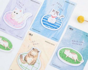 Lovely Lazy Cat Sticky Notes ~ Cute Cat Memo Pad, Scrapbooking DIY, Planner Accessories, Post It, Kawaii, Stationery, School Supplies, Label