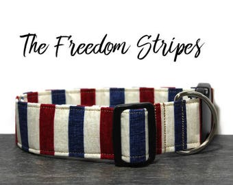 Fourth of July Dog Collar, Patriotic Dog Collar, Red White and Blue, Made in America Collar, American Flag Collar for Dogs, USA Dog Collars