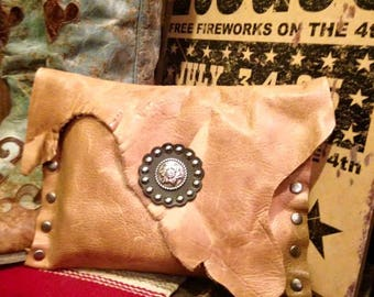 Distressed Tan Leather Clutch
