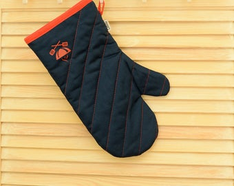 Oven mitts, Kitchen mitts, Blue Cotton Oven Gloves, Potholder, Cooking gloves, Kitchen Gloves, Blue mitts, Grill mitts, Barbecue mitts