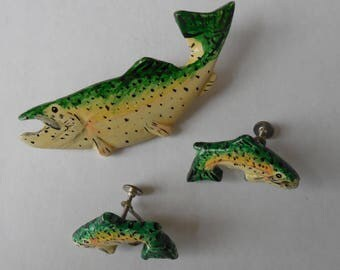 Fish Jewelry Set, Hand Carved and Painted Wooden Pin and Screw-Backed Earrings