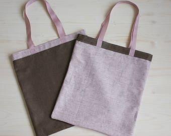 Canvas Bags Set, Reusable Bag Linen Canvas Bag, Linen Tote, Tote Bag, Grocery Bag, Canvas Bag, Large Tote Bag, Brown Canvas Tote, Eco Bag