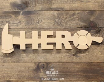 Firefighter Hero Ax Cutout Photo Frame Sign, Unfinished