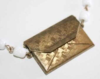 Brass Envelope Letter Necklace