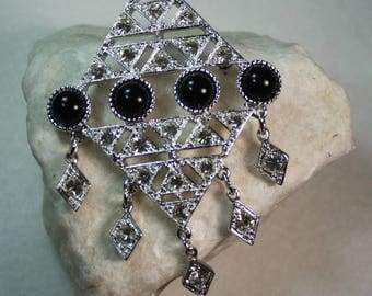 Book Piece Sarah Coventry Brooch, Silver with Black Cabochons and Rhinestones