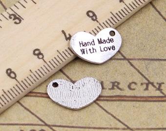 50 PCS 17*22 MM Love Heart Plate  Charms Antique Silver Charm Pendants  Y11873