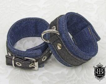 Handcuffs BDSM Bondage chains silver blue jeans