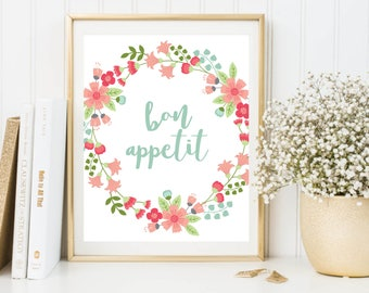 Kitchen Print, Bon Appetit, Pastel Letter Print, Restaurant Print, Kitchen Art, Pastel Decor, Kitchen Wall Art, Kitchen Decor, Franch Quote