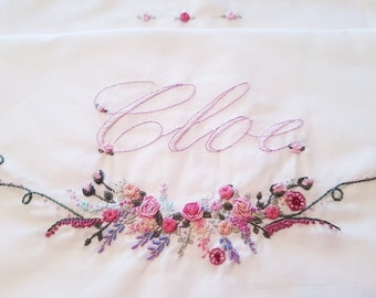 Linen Set with love and embroidery pillowcase handmade in cotton Batista and embroidered entirely by hand