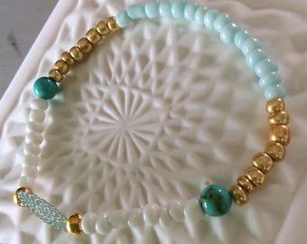 Summer Azure Blue and gold bracelet