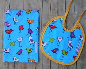 Diapers Holder | Cotton Bib and Sponge | Motif Birds | Birth Gift Idea | Newborn Gift Idea