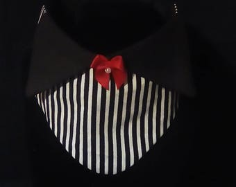 Black and White suit bandana with red bow.