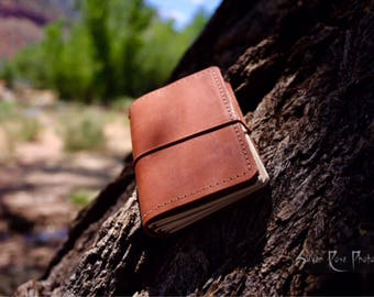 Pocket leather travel journal