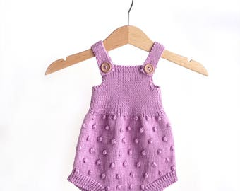Baby Knit Romper - Newborn Outfit - Baby Onesie - Pink Romper - Photo Prop - Baby Shower Gift