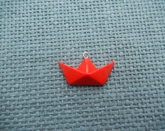 charm fimo red origami boat