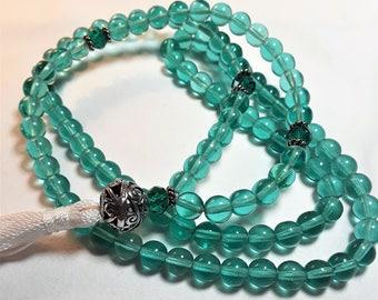 Turquoise Czech Glass & Swarovski Crystal Mala