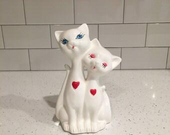 Mid Century Ceramic Siamese Cats Statue