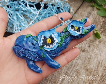 Polymer clay pendant with the whale - Magic pendant - Boho jewelry - Whale pendant - Marine - mothers day - polymer clay jewelry