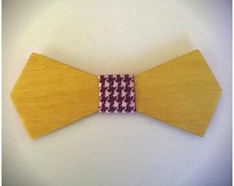 EDWARD. Nœud papillon en bois de buis, revêtu d'un tissu pied de poule bordeaux. . Pour Homme. Cadeau pour papa. Garçon d'honneur.