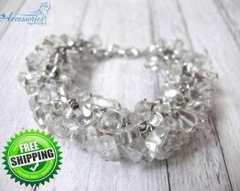 Clear Quartz Chip Cluster bracelet Winter Wedding Cluster Bracelet Gemstone Crystal Christmas Holiday gift idea Bracelet Jewellery Jewelry