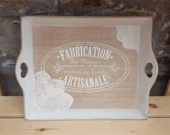 Weathered tray white and beige lace