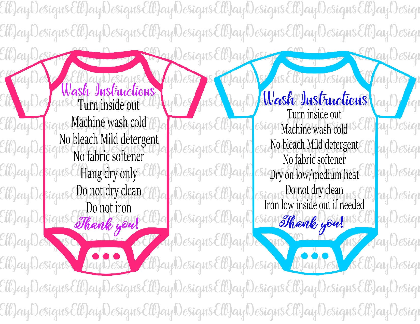 HTV Shirt Care Card Baby Body Suit Care Card Htv Shirt Care - Custom vinyl decal application instructionscare card printable care card instructions printable care
