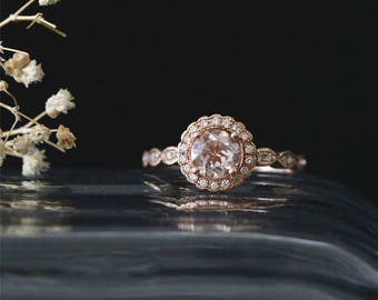 Vintage Floral Halo Ring VS 6mm Round Cut Peach Morganite Ring Gemstone 14K Rose Gold Engagement Ring Bridal Ring Stackable Anniversay Ring