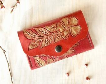 Small red leather wallet with gold flowers simple red mini wallet minimal thin wallet women red elegance little girl slender delicate wallet